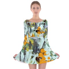 Abstract Country Garden Long Sleeve Skater Dress