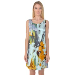 Abstract Country Garden Sleeveless Satin Nightdresses