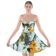 Abstract Country Garden Strapless Bra Top Dress