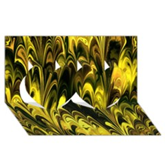 Fractal Marbled 15 Twin Hearts 3d Greeting Card (8x4)