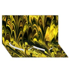 Fractal Marbled 15 Twin Heart Bottom 3D Greeting Card (8x4)
