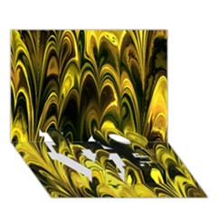 Fractal Marbled 15 LOVE Bottom 3D Greeting Card (7x5)