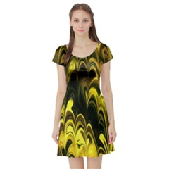 Fractal Marbled 15 Short Sleeve Skater Dresses