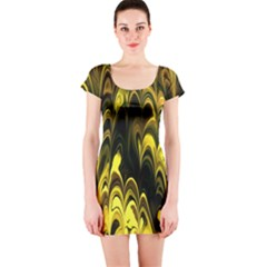 Fractal Marbled 15 Short Sleeve Bodycon Dresses
