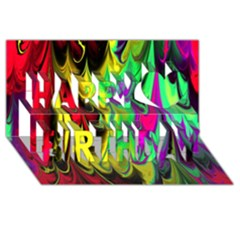 Fractal Marbled 14 Happy Birthday 3d Greeting Card (8x4)