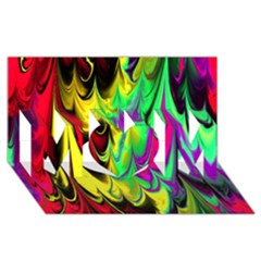 Fractal Marbled 14 Mom 3d Greeting Card (8x4)