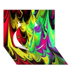 Fractal Marbled 14 Heart 3D Greeting Card (7x5)