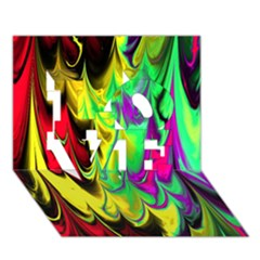 Fractal Marbled 14 Love 3d Greeting Card (7x5)