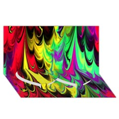 Fractal Marbled 14 Twin Heart Bottom 3D Greeting Card (8x4)