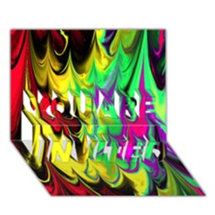 Fractal Marbled 14 YOU ARE INVITED 3D Greeting Card (7x5)