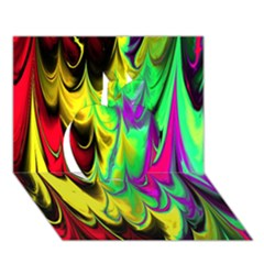 Fractal Marbled 14 Apple 3D Greeting Card (7x5)