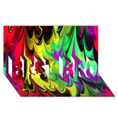 Fractal Marbled 14 BEST BRO 3D Greeting Card (8x4)