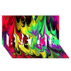 Fractal Marbled 14 Best Sis 3d Greeting Card (8x4)