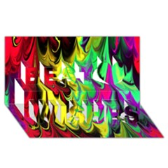 Fractal Marbled 14 Best Wish 3d Greeting Card (8x4)