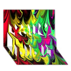 Fractal Marbled 14 You Did It 3D Greeting Card (7x5)