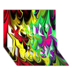Fractal Marbled 14 You Rock 3D Greeting Card (7x5)