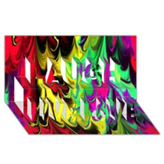 Fractal Marbled 14 Laugh Live Love 3D Greeting Card (8x4)