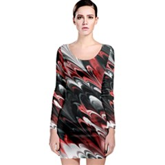 Fractal Marbled 8 Long Sleeve Bodycon Dresses