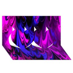 Fractal Marbled 13 Twin Hearts 3D Greeting Card (8x4)