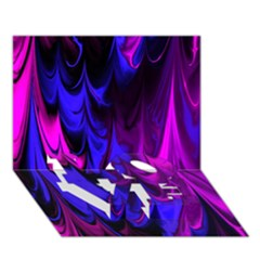 Fractal Marbled 13 Love Bottom 3d Greeting Card (7x5)