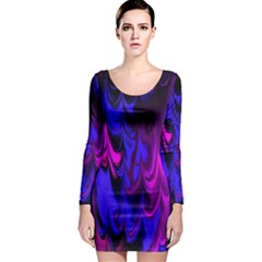 Fractal Marbled 13 Long Sleeve Bodycon Dresses