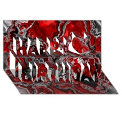 Fractal Marbled 07 Happy Birthday 3d Greeting Card (8x4)