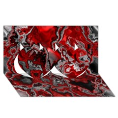 Fractal Marbled 07 Twin Hearts 3d Greeting Card (8x4)