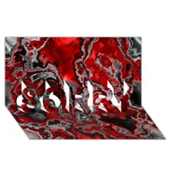 Fractal Marbled 07 Sorry 3d Greeting Card (8x4)