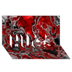 Fractal Marbled 07 Hugs 3d Greeting Card (8x4)
