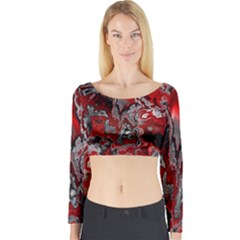 Fractal Marbled 07 Long Sleeve Crop Top
