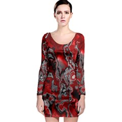 Fractal Marbled 07 Long Sleeve Bodycon Dresses
