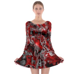 Fractal Marbled 07 Long Sleeve Skater Dress