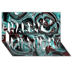 Fractal Marbled 05 Happy Birthday 3D Greeting Card (8x4)