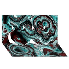 Fractal Marbled 05 Twin Hearts 3d Greeting Card (8x4)