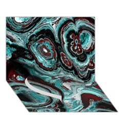 Fractal Marbled 05 Heart Bottom 3D Greeting Card (7x5)