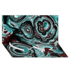 Fractal Marbled 05 Twin Heart Bottom 3d Greeting Card (8x4)
