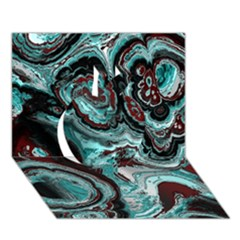 Fractal Marbled 05 Apple 3D Greeting Card (7x5)