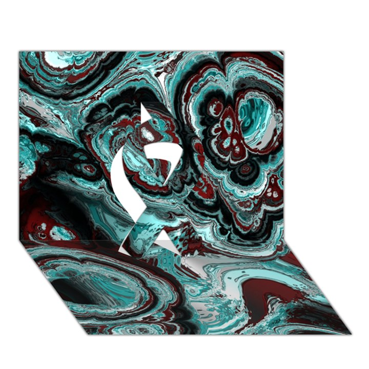 Fractal Marbled 05 Ribbon 3D Greeting Card (7x5)