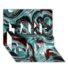 Fractal Marbled 05 TAKE CARE 3D Greeting Card (7x5)