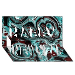 Fractal Marbled 05 Happy New Year 3d Greeting Card (8x4)