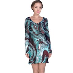 Fractal Marbled 05 Long Sleeve Nightdresses
