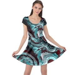 Fractal Marbled 05 Cap Sleeve Dresses