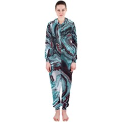 Fractal Marbled 05 Hooded Jumpsuit (ladies)