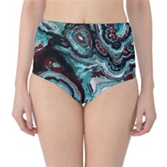 Fractal Marbled 05 High-Waist Bikini Bottoms