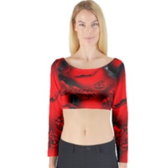 Abstract Art 11 Long Sleeve Crop Top
