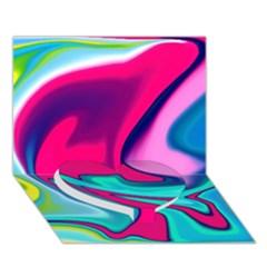Fluid Art 22 Heart Bottom 3D Greeting Card (7x5)