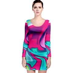 Fluid Art 22 Long Sleeve Bodycon Dresses