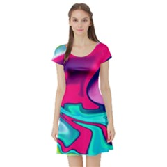 Fluid Art 22 Short Sleeve Skater Dresses