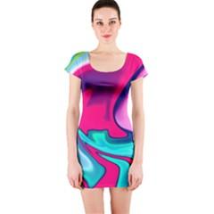 Fluid Art 22 Short Sleeve Bodycon Dresses