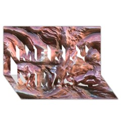 Wet Metal Structure Merry Xmas 3D Greeting Card (8x4)